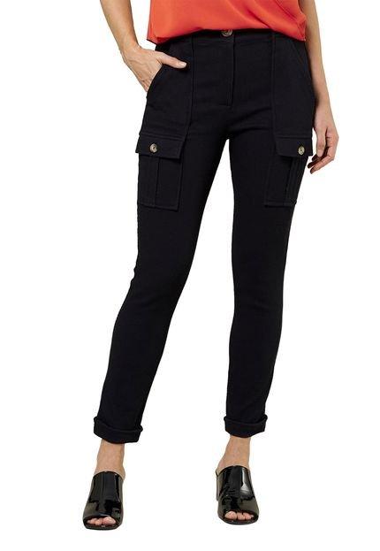 MX Fashion Calça MX Fashion Skinny de Sarja com Bolsos Sophie Preta T45D6