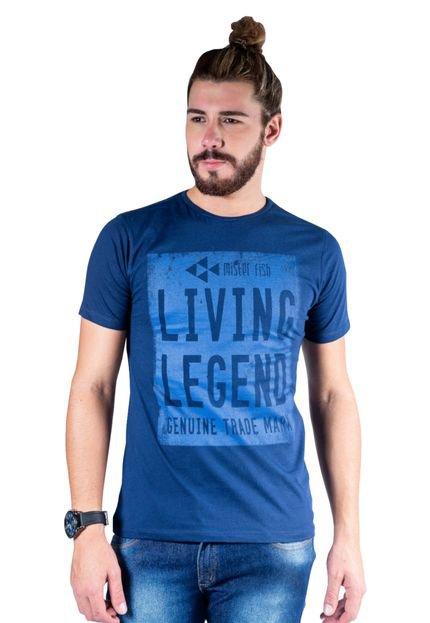Camiseta Mister Fish Estampado Living Legend Marinho