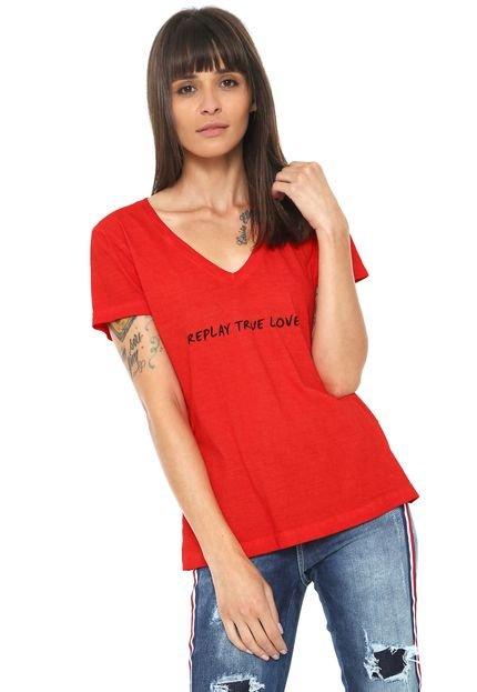 Replay Camiseta Replay True Love Vermelha ONscJ