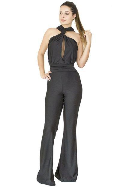 Dress Code Moda Macacão 6 em 1 Dress Code Moda Preto FCIBs