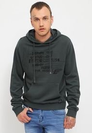 Polerón Ellus Stone Wash Hoodie With Front Pocket And Front Print Verde - Calce Regular