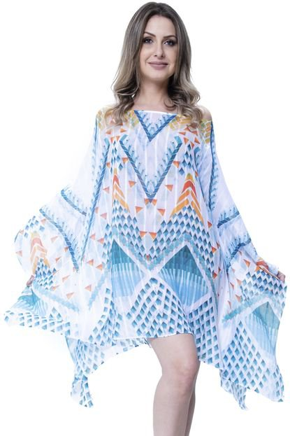 101 Resort Wear Kaftan 101 Resort Wear Vestido Listrado Gerometrico Branca LVLqJ