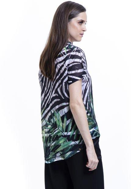 101 Resort Wear Camisa 101 Resort Wear chifon Estampada Zebra Folhas Preto