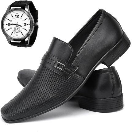 Sw Shoes Kit Sapato Social Exclusivo Sw Shoes Com Relógio Preto GFvzj