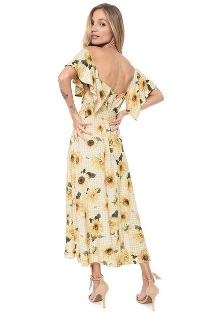 Lez a Lez Vestido Lez a Lez Midi Girassol Amarelo