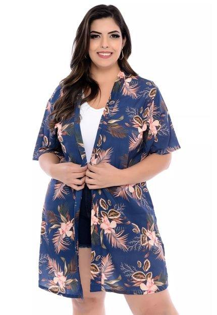 Arimath Plus Kimono Arimath Plus Plus Size Orquídea Azul-54 09sWR