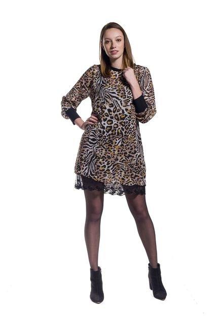 Notre Vie Vestido Chiffon Notre Vie Mix Animal Print ZbAJ8