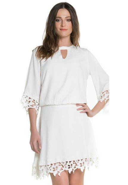 Sideral Vestido Sideral Com Rendas Off White VxULX