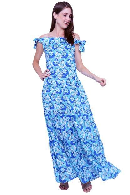 101 Resort Wear Vestido Longo 101 Resort Wear Cigana Ombro a Ombro Saia Babados Viscose Estampada Floral Azul oxxLP