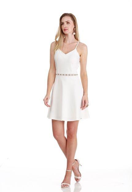 Sideral Vestido Sideral branco com renda na cintura cfWav