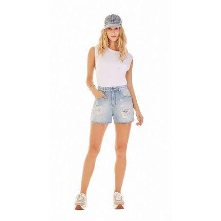 Zinco Shorts Zinco  Five Pockets Detalhe Tachas  Jeans Zpefo