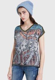 Polera Desigual T Shirt Kaki Floral  Multicolor - Calce Regular