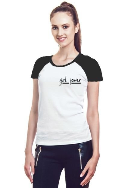 Garota Sideral Camiseta Feminina Raglan Girl Power N9kTj