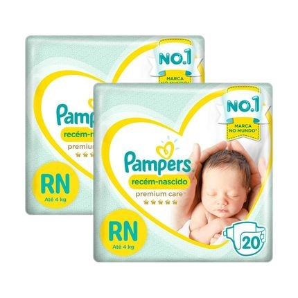 Kit Fralda Pampers Premium Care Recém Nascido com 40 unidades - 3 à 6 Kg