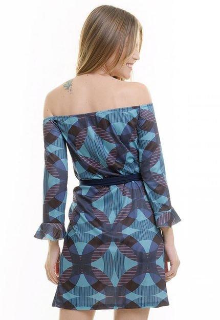 Aura Vestido Aura Ombro A Ombro Azul
