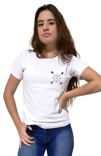 Cellos Camiseta Feminina Cellos Cross Arrows Premium Branco oh38F