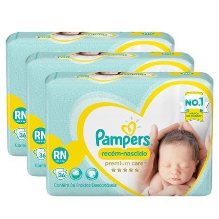Kit Fralda Pampers Premium Care Recém Nascido Com 108 Unidades - 2 À 4,5Kg Branca