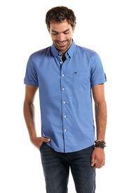 Camisa Manga Corta Estampada Astoria Azul Ferouch