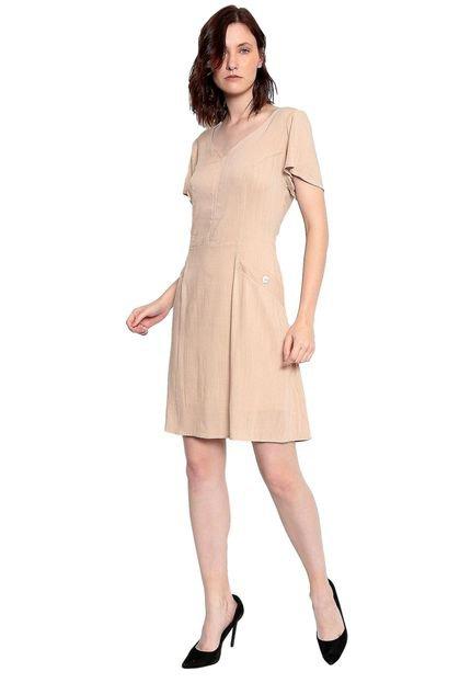 Energia Vestido Plano Liso Energia Fashion Bege sNmYb