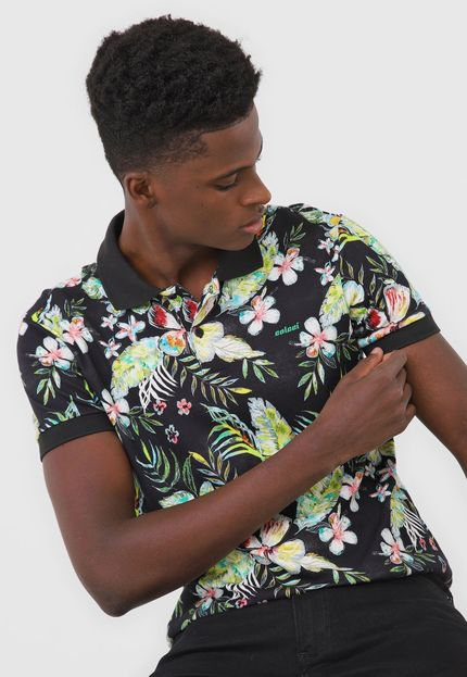 Camisa Polo Colcci Reta Floral Preta