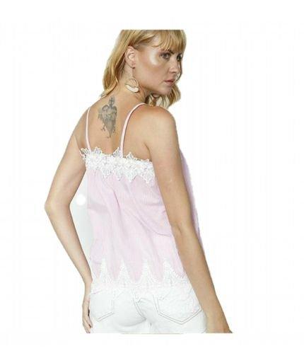 BON Blusa BON Listrada Com Renda Rosa 5A1j8