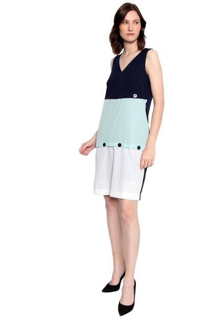 Energia Vestido Plano Bicolor Energia Fashion Marinho/Verde teWKu