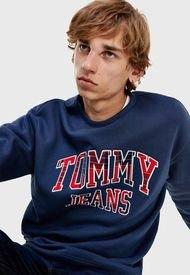 Polerón Tommy Jeans Tjm plaid tommy graphic crew Azul - Calce Regular
