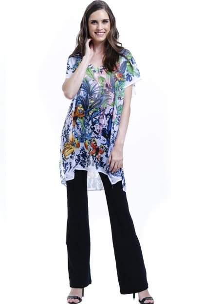 101 Resort Wear Blusa 101 Resort Wear Tunica Decote V Crepe Fendas Estampada Floral gRQB0
