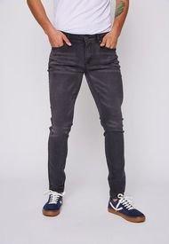 Jeans Hombre Slim Fit Black Gastado Negro Family Shop