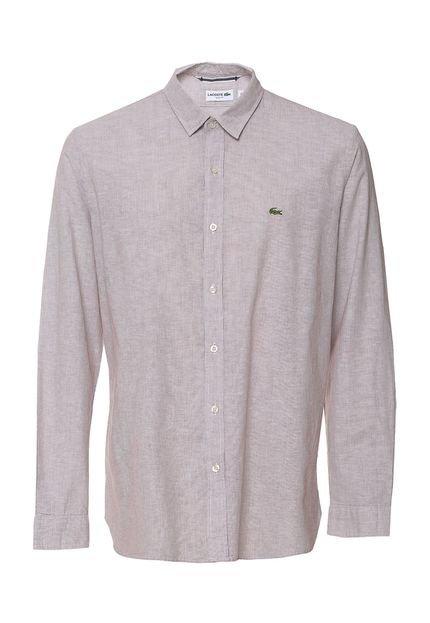 Camisa Lacoste Slim Listras Branca