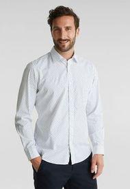 Camisa Slim Manga Larga Estampada Blanco Esprit