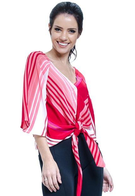 101 Resort Wear Blusa 101 Resort Wear Crepe Listrada Vermelha de Amarrar com Laço e Botoes hoqEw