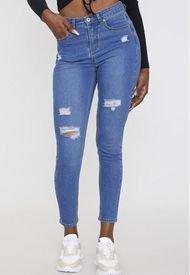 Jeans Básico Skinny 5 Bolsillos Azul Claro Destroyed  Corona