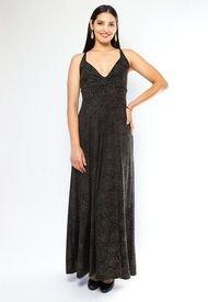 Vestido Zara Fiesta Rosas Doradas Negro Natalia Seguel