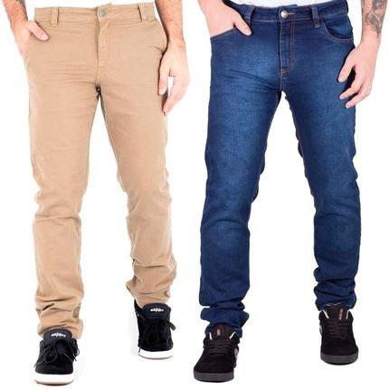 Kit 2 Calças Prime Sarja Skinny Com Lycra Chino Caqui E Jeans Travel.