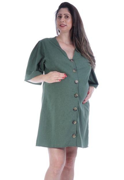 Amazonia Vital Vestido Curto Amamentação Moda Gestante Camisa Amazonia Vital Green T4hbE