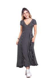 Vestido Largo Juvenil Femenino Negro Atypical
