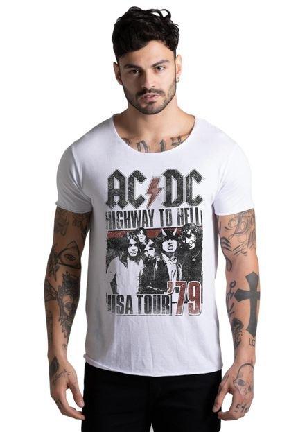 Camiseta Joss Corte a Fio AC DC USA Branca