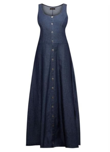 Quintess Vestido Quintess Longo Regata Jeans Escuro
