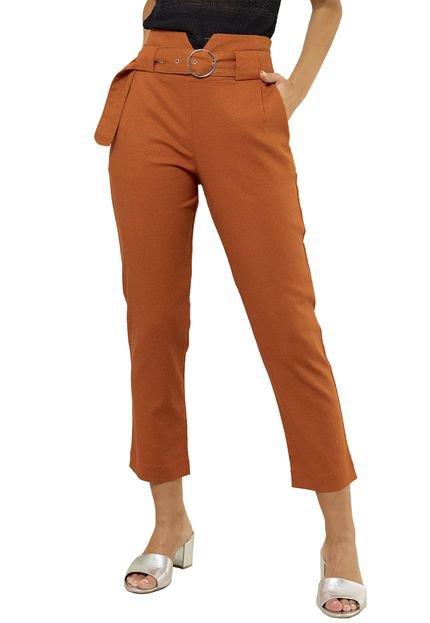 MX Fashion Calça MX Fashion com Cinto e Fivela Larga Felipa Ferrugem Ee8Ab