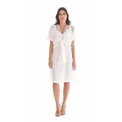 Maria Valentina Vestido Maria Valentina  Curto Decote Redondo Com Amarracao Off White Off-White 0pmC0