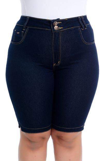 Soft Jea Bermuda Plus Size Soft Jeans Pedalete Jeans Escuro bt3q4