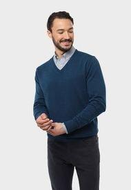 Sweater Cuello En V Turquesa Arrow