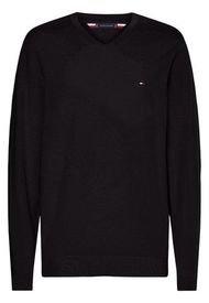 Sweater De Algodón Con Cuello V Negro Tommy Hilfiger