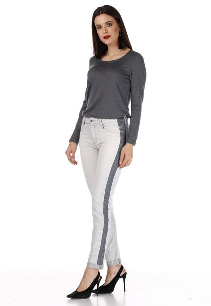 Sideral Calça Skinny Sideral Com Detalhe Lateral Jeans H05Rz