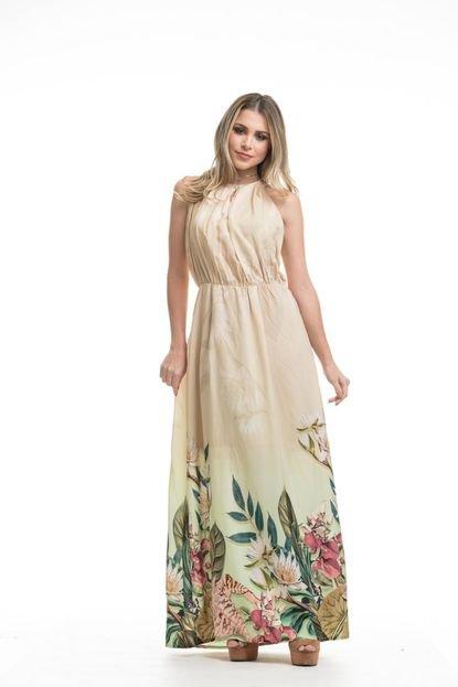 Clara Arruda Vestido Clara Arruda Longo Decote Pregas  50457 Floral f3X9W