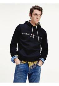 Polerón Con Capucha Y Logo Print Negro Tommy Hilfiger