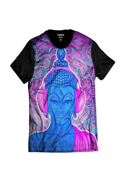 Camiseta Di Nuevo Masculina Psicodélico Buda Rap Exclusiva Preta