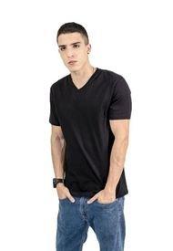 Camiseta Color Negro Para Hombre Manga Corta Cuello V Basica  Keith R