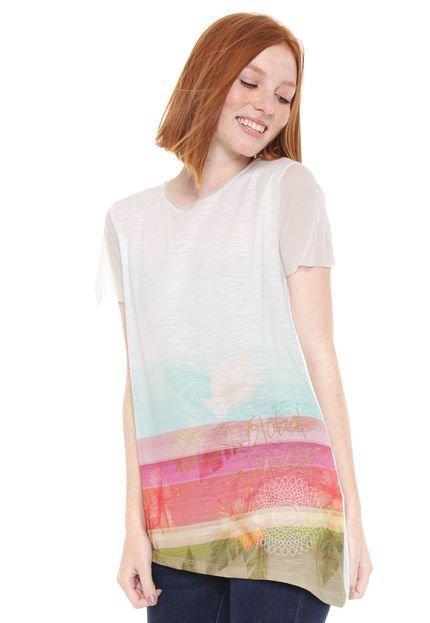 Desigual Camiseta Desigual Bordada Tule Off-White nYhk3